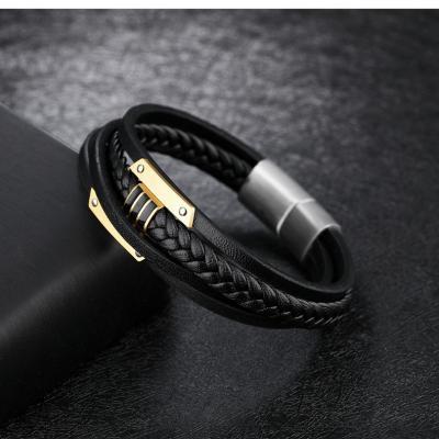 Кожаный браслет комбинированный черный с золотистыми вставками KZB-03