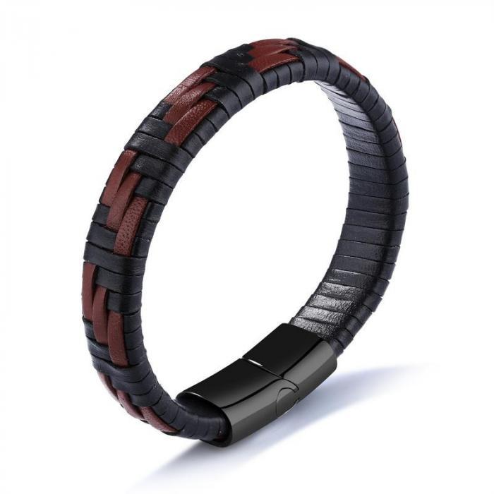 Кожаный браслет черный с коричневым плетением KZB-06