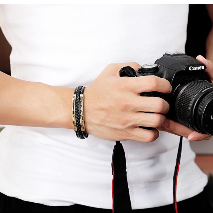 Кожаный браслет черный с серебристой вставкой египетский узор KZB-07