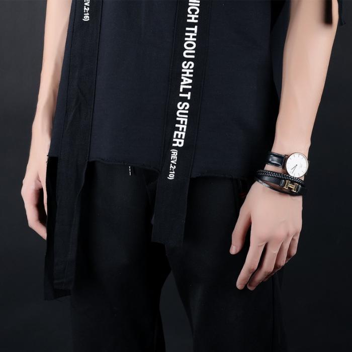 Кожаный браслет черный комбинированный с металлической вставкой золотистого цвета KZB-10