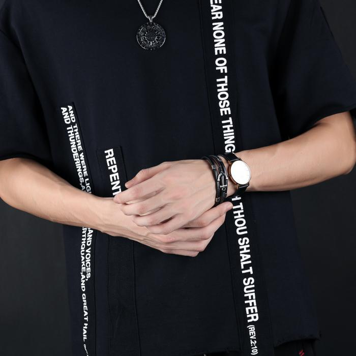Кожаный браслет черно-коричневый комбинированный с якорем KZB-11