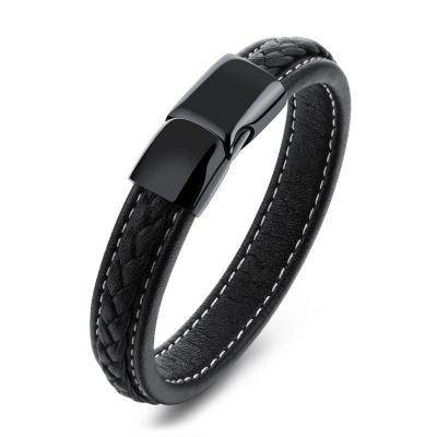Кожаный браслет черный с черной магнитной застежкой KZB-13