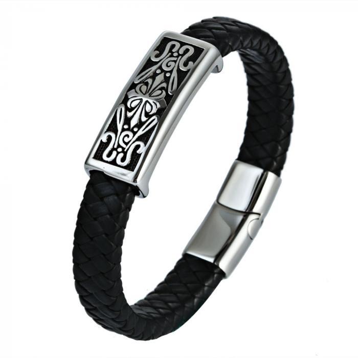 Кожаный браслет черный с металличесской вставкой с готическим узором KZB-14
