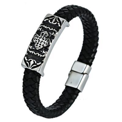 Кожаный браслет черный с металлической вставкой с готическим рисунком KZB-19