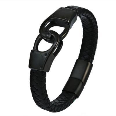 Кожаный браслет черный с металлической вставкой в виде наручников KZB-20