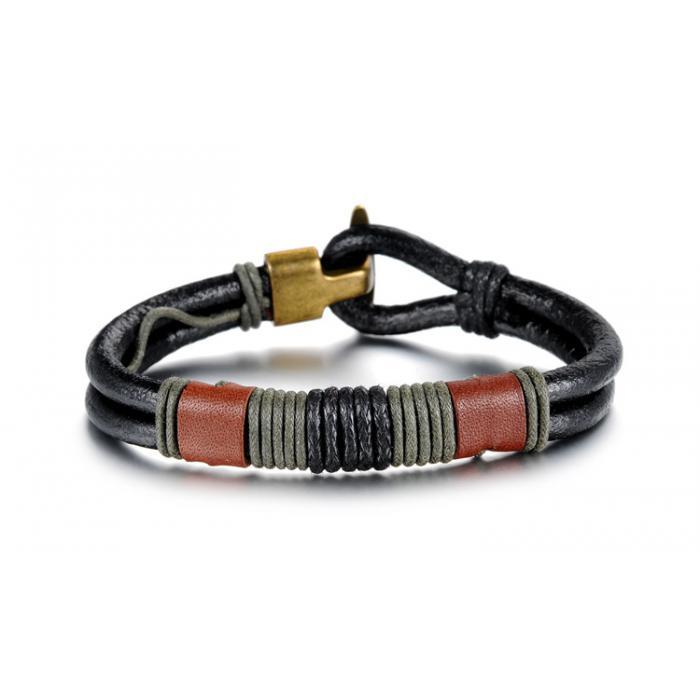 Кожаный плетеный браслет со вставками из коричневой кожи PLB-01