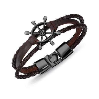 Плетеный браслет из кожи со штурвалом PLB-02