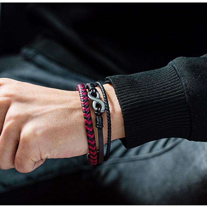 Кожаный плетеный браслет со вставками в виде знака бесконечности PLB-04