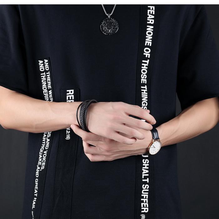 Кожаный браслет комбинированный с плетением PLB-05