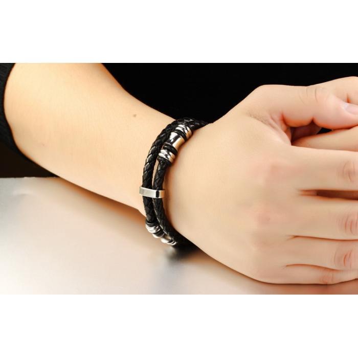 Кожаный плетеный браслет со вставками из серебристой стали PLB-06