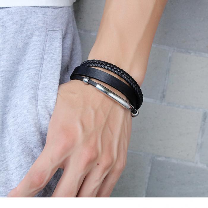 Кожаный браслет комбинированный с плетением и вставкой из стали PLB-07
