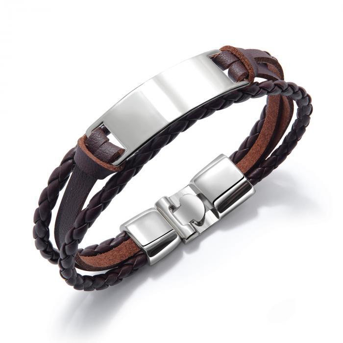 Плетеный браслет из кожи со вставкой под гравировку PLB-08