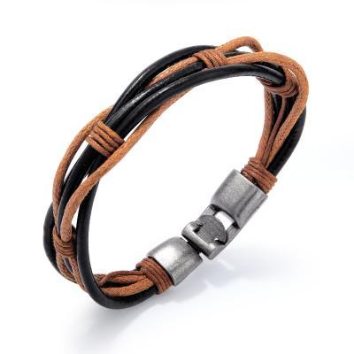 Плетеный браслет из коричнево-черной кожи PLB-09