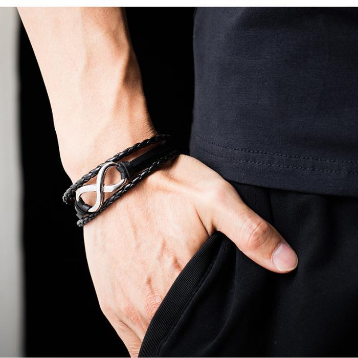 Кожаный браслет с плетением и вставкой из металла в форме бесконечности PLB-11