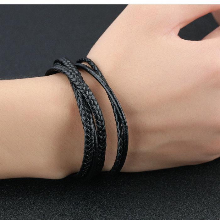 Кожаный браслет с плетением PLB-12