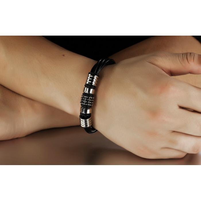 Кожаный плетеный браслет с металлическими вставками и инкрустацией PLB-14