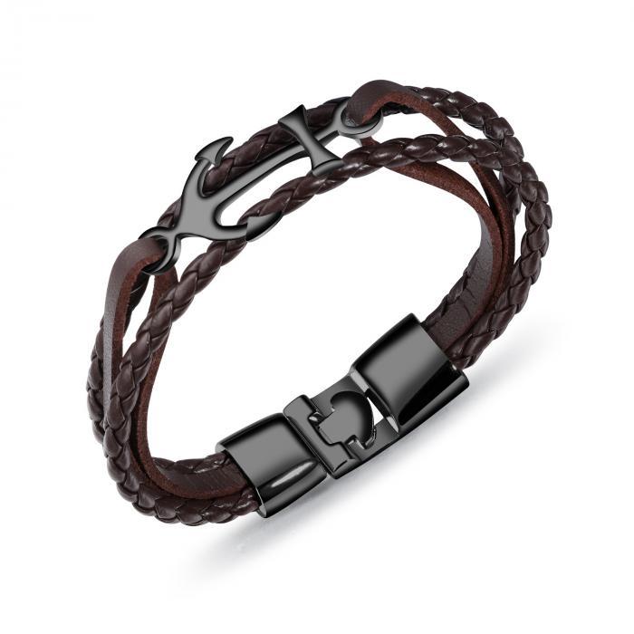 Кожаный браслет с плетением и якорем PLB-15