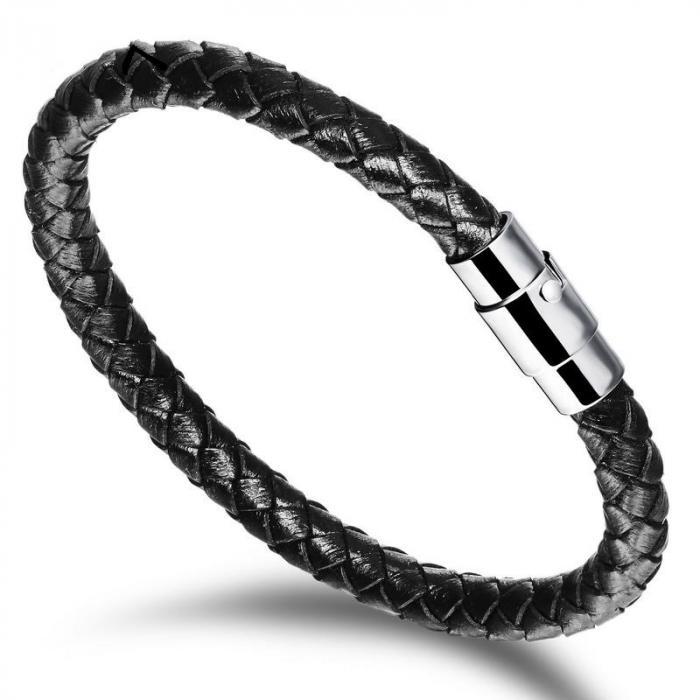 Кожаный плетеный браслет PLB-18