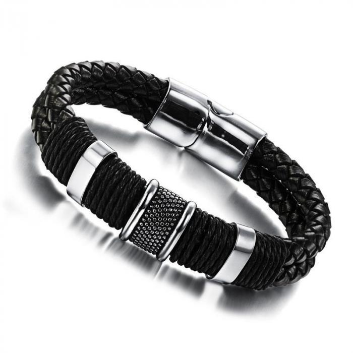 Кожаный плетеный браслет с металлическими вставками PLB-19