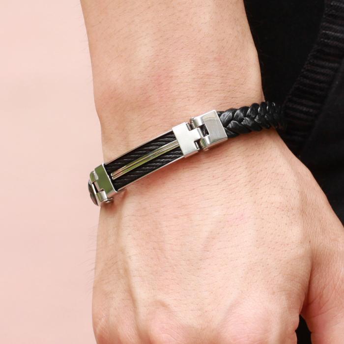 Плетеный браслет из кожи со вставкой из металла PLB-21