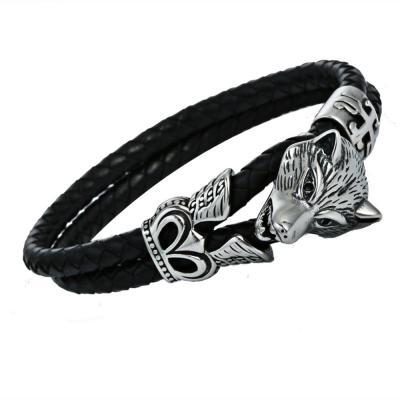 Кожаный плетеный браслет с головой волка PLB-26