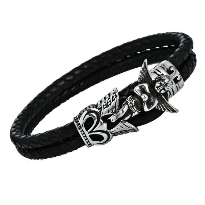 Кожаный плетеный браслет с ангелом PLB-27