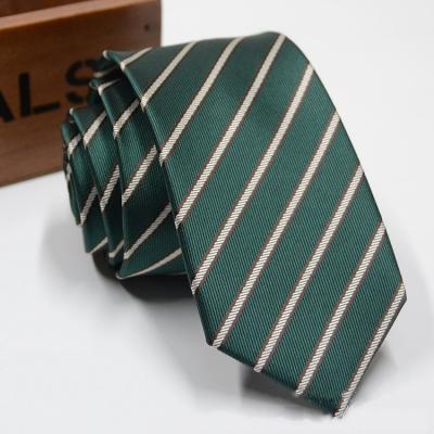 Галстук узкий в полоску зеленый GUP-03