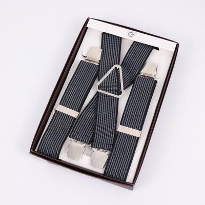 Черные подтяжки мужские с усиленными клипсами Baijin X-образные BJ-02