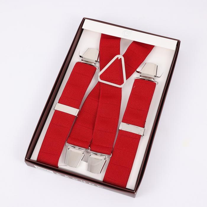 Красные подтяжки мужские с усиленными клипсами Baijin X-образные BJ-05