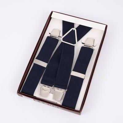 Подтяжки мужские синие с усиленными клипсами Baijin X-образные BJ-06