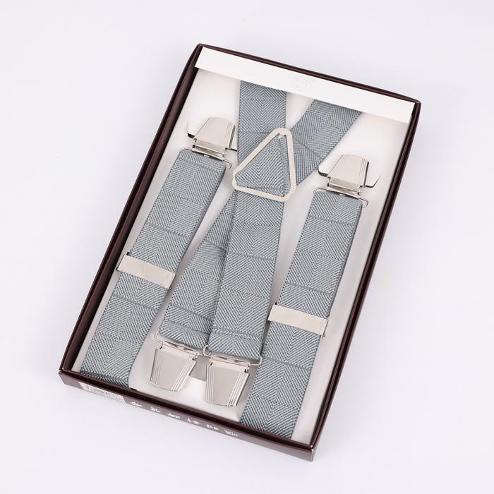 Серые подтяжки мужские с усиленными клипсами Baijin X-образные BJ-07