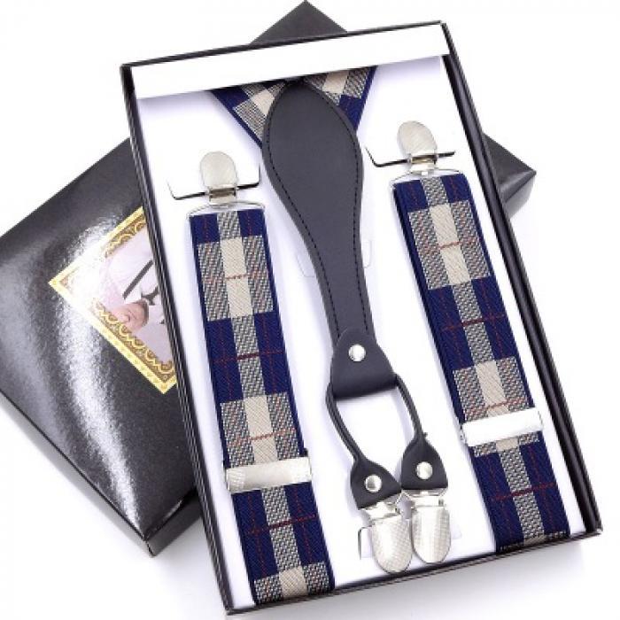 Подтяжки для брюк мужские  Jierku синие GF-16