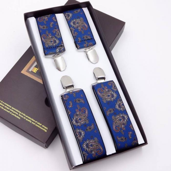 Синие подтяжки мужские G.Miller X-образные GM-07