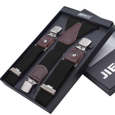 Черные подтяжки мужские с усиленными клипсами Jierku Y-образные JK-01