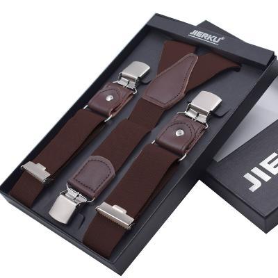 Подтяжки мужские коричневые с усиленными клипсами Jierku Y-образные JK-02