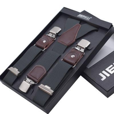 Серые подтяжки мужские с усиленными клипсами Jierku Y-образные JK-03