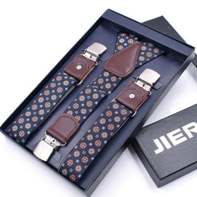 Синие подтяжки с узором и усиленными клипсами Jierku Y-образные JK-04