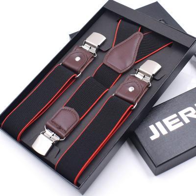 Черные подтяжки с красной полосой и усиленными клипсами Jierku Y-образные JK-07
