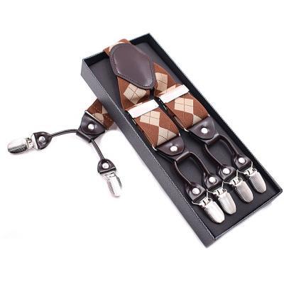 Подтяжки мужские 6 клипс Jierku Y-образные коричневые ромб JKU-15