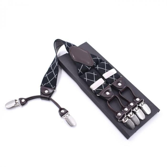 Мужские подтяжки  6 клипс Jierku Y-образные черные белый ромб JKU-21