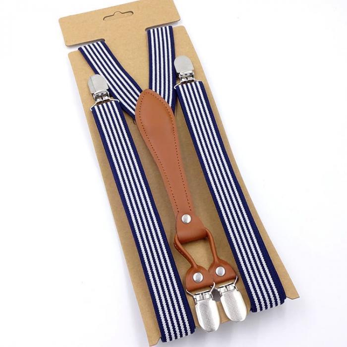 Узкие женские подтяжки Jierku синие полоска JR-05
