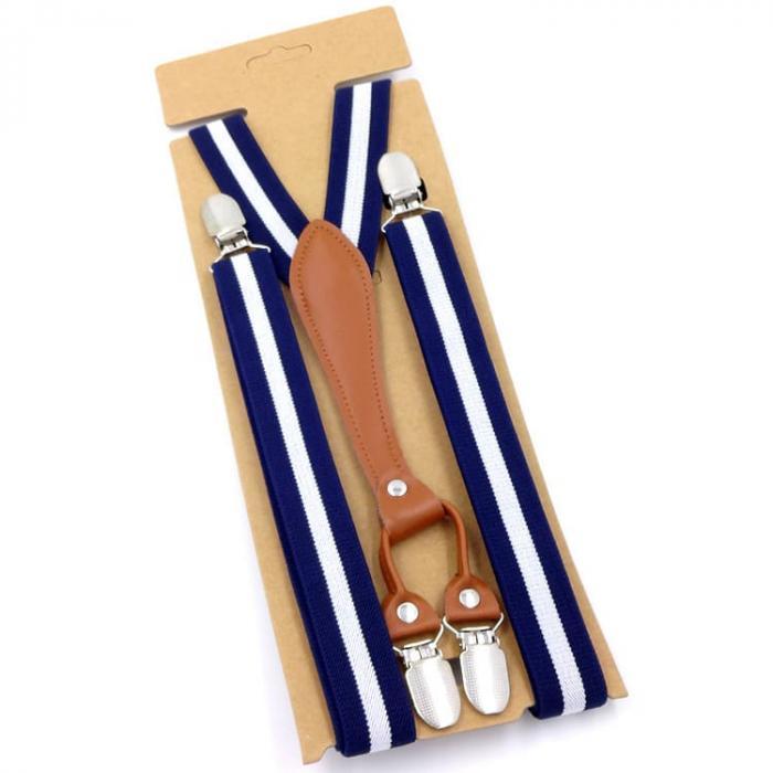 Узкие женские подтяжки Jierku синие с белой полосойJR-06