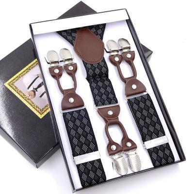Подтяжки мужские 6 клипс Jierku Y-образные черные в клетку JRKU-05