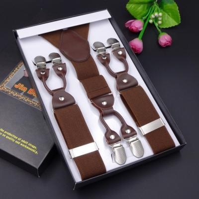 Мужские подтяжки 6 клипс Jierku Y-образные коричневые JRKU-08
