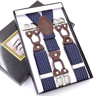 Мужские подтяжки 6 клипс Jierku Y-образные синие в полоску JRKU-10