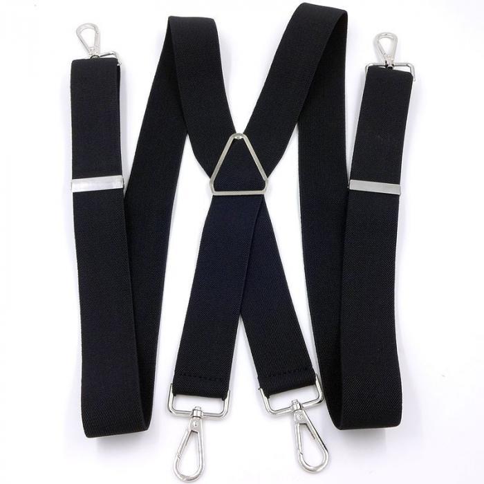 Подтяжки  черные для джинс на карабинах 4 крепления KRB-02