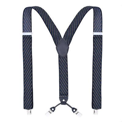 Подтяжки мужские синие 4 клипсы MF-03