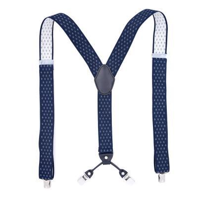 Подтяжки мужские синие ромб 4 клипсы MF-07