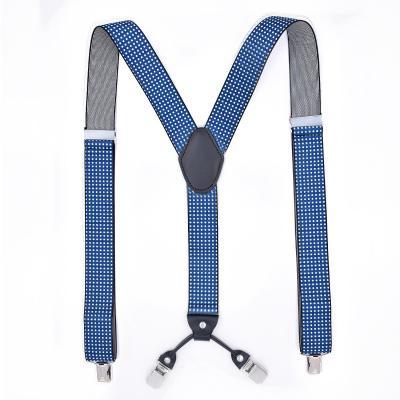 Подтяжки мужские синие горох 4 клипсы MF-17