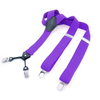 Подтяжки мужские фиолетовые 4 клипсы MF-23